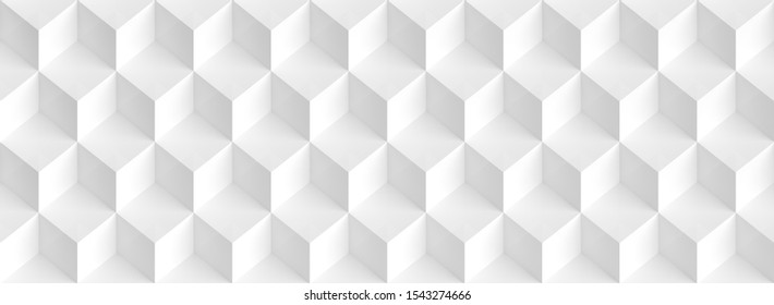 Abstract Cube Panoramic Background. White Graphic Design. 3d Illustration