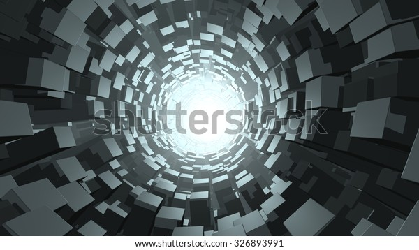 Abstract cube wormhole. 3D rendering
