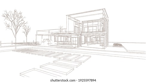 abstract cubic house 3d rendering
