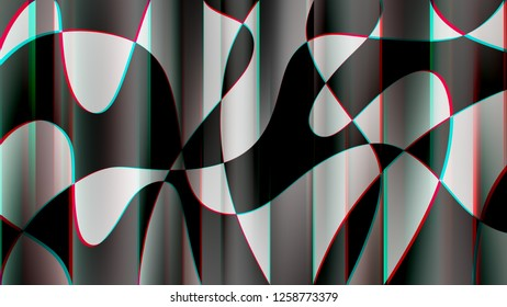 Abstract curved shapes with chroma aberration illustration background