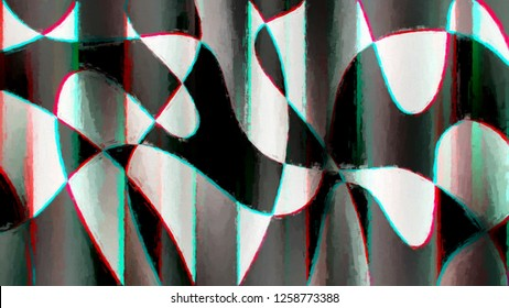 Abstract curved shapes chromatic aberration painting background