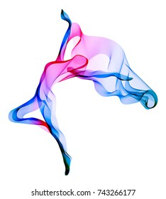 Abstract dancer, woman silhouette over white, modern illustration