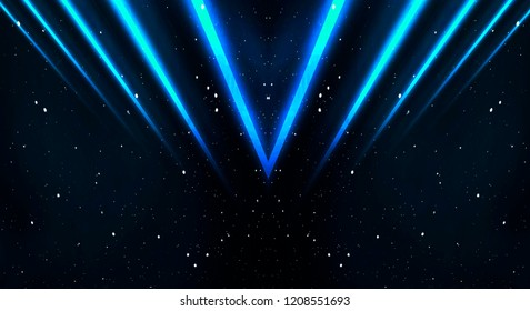 Abstract dark background with neon lines and rays. Blue colour.
