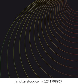 Abstract Dark Background. Wave Optical Illusion. Colorful thin Lines. Clear linear template for web and graphic design.