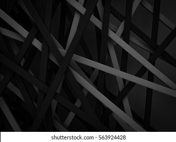 abstract dark black gray stripe line random background 3d render