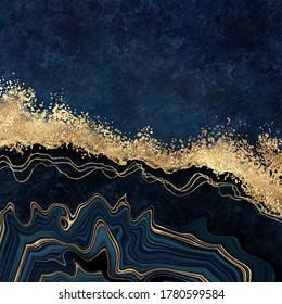 abstrakter, dunkelblauer Hintergrund mit goldener Folie. Künstliche Steintextur, Fake Agate, trendige Marmortapeten, digitale Marmorgrafik