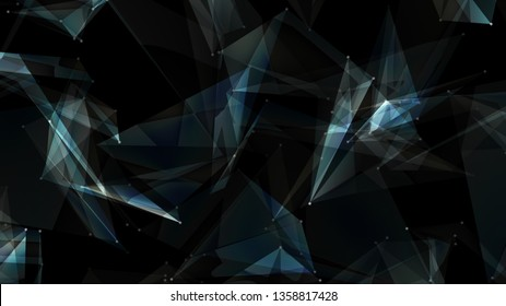 abstract dark blue digital data system polygon nodes and connection paths. 3D illustration rendering .