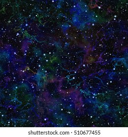 Abstract dark blue universe. Glittering colorful night starry sky. Multicolor nebula outer space. Galactic texture background. Seamless illustration.