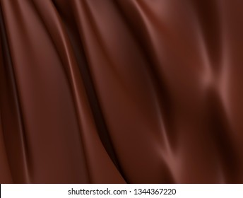 Abstract Dark Chocolate Background. Beautiful Satin Fabric for Drapery Abstract Texture. Brown Silk.