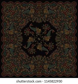 Abstract dark colorful mermaid linear print on a black background. Paisley pattern, hand drawn fish, fantasy sea animals, ornate cute octopus. Bandana design, scarf, kerchief ornament, tee shirt paint