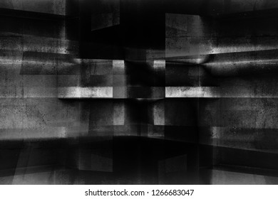 Abstract dark concrete background pattern, double exposure effect, 3d render illustration