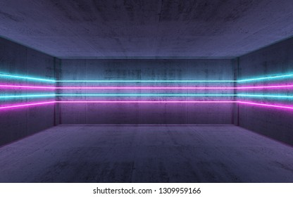 Abstract dark concrete interior background with colorful horizontal neon light lines, 3d render illustration