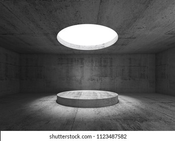 Abstract dark concrete interior, showroom with round ceiling light and podium. 3d illustration