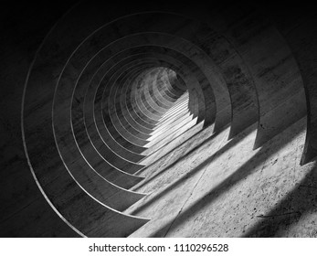 Abstract dark concrete tunnel interior with perspective effect. 3d render illustration