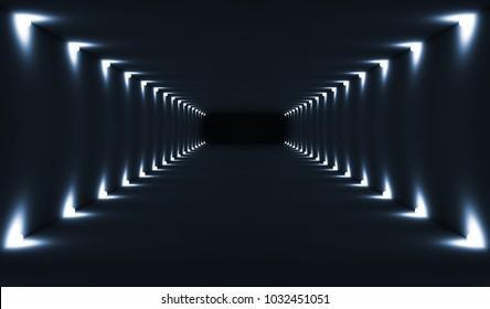 Abstract dark empty tunnel interior perspective with spot lights illumination. Digital 3d illustration