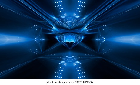 Abstract dark futuristic blue night background. Rays and lines, lightning, lights. Blue neon light, symmetrical reflection, futuristic light tunnel, stage. 3D illustration.