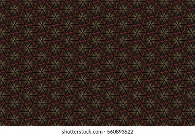 Abstract dark geometric pattern of prisms. Geometry grid texture. Prism flower figures background. Black brown green blue red maroon orange yellow gold and violet pink toned