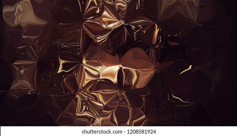 Abstract dark golden metallic backround texture.