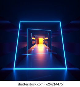 Abstract dark hallway with blue neon loops or frames of luminaries crossing the walls and a floor and yellow lighting. 3d rendering illustration of an interior space and modern architectural lights