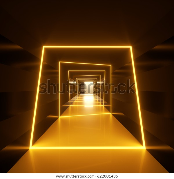 Abstract dark hallway with golden orange neon loops or frames of luminaries crossing the walls and a floor. 3d rendering illustration of an interior space and modern architectural lights