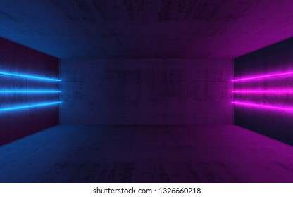 Abstract dark interior background with colorful neon lights mounted on walls of empty concrete room, 3d illustration