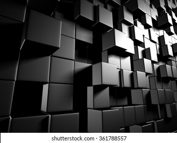 Abstract Dark Metallic Cubes Wall Background. 3d Render Illustration