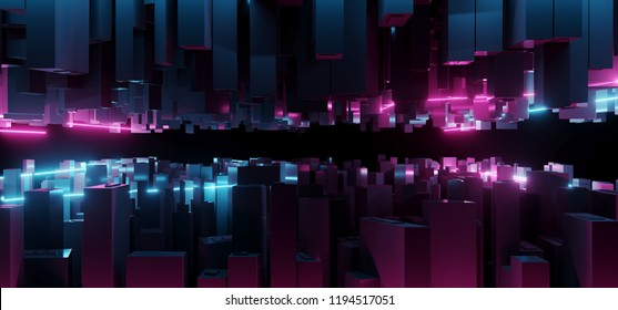 Abstract Dark Modern Futuristic Sci Fi Fantasy Blue And Purple Lighted Neon Tubes City Closeup Tech Concept Background Wallpaper 3D Rendering Illustration