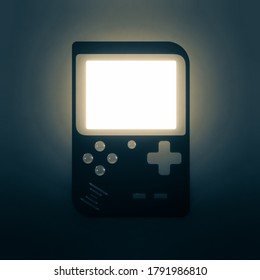 abstract dark retro handheld game console with glowing screen. 3d render.