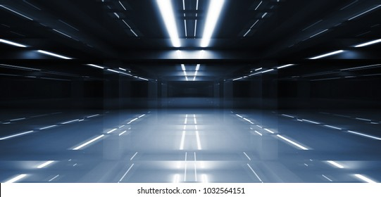 Abstract dark tunnel perspective with neon lights illumination. 3d illustration