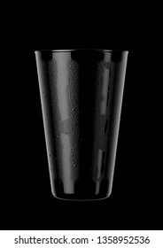 An abstract dark view of a black reflective shaker pint shaped beer glass with condensation on an isolateddark background - 3D renders