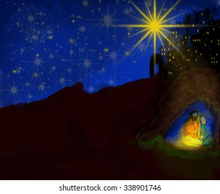 Abstract dark watercolor Christmas Nativity scenery illustration with copy space for text