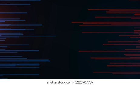 Abstract dashes and lines. Horizontal lines on left blue on right red moving towards each other. Animation of mutually penetrating neon lines filling dark background