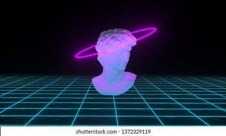 Abstract David's bust with neon gloving light on grid background. Banner design. Retrowave, synthwave, vaporwave illustration. Party and sales concept. 3d render
