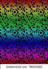 Abstract  Decorative Geometric Rainbow Pattern