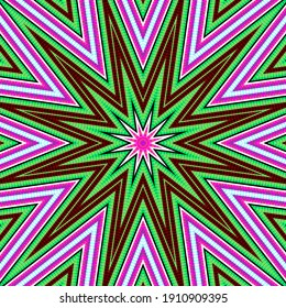 Abstract decorative multicolored star - mandala with 3d effect and optical illusion in a bright psychedelic colors and Op art style