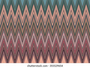 Abstract decorative texture with colorful zig zag pattern. Illustration.