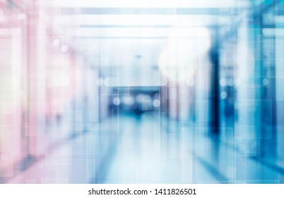 abstract defocused blurred technology space background, empty business corridor or shopping mall. Medical and hospital corridor defocused background with modern laboratory (clinic)