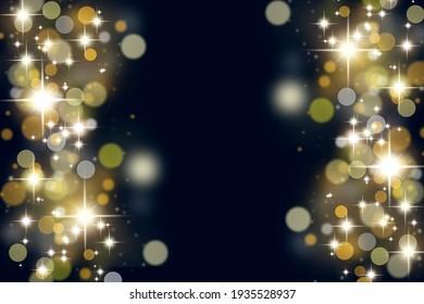 Abstract defocussed festive dark black background with sparkles. Illustration.
