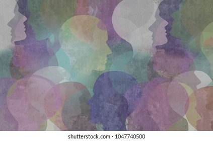 Abstract demographics art as a diversity society background as a color diverse ethnic group of people in a grunge texture as a social and public idea in a 3D illustration style.