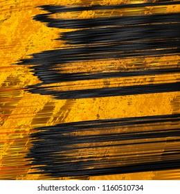 Abstract design of black brush stroke on golden surface. 3d illustration