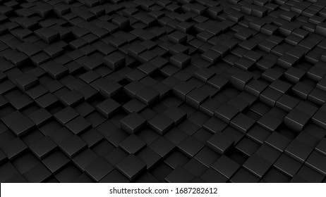 Abstract design of black cubes 3D illustration. For artwork, background, web, print, event backdrop. High resolution illustration.
