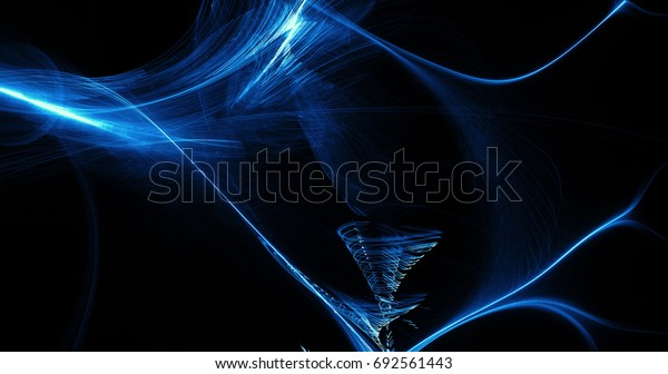 Abstract Design In Blue Lines Curves Particles On Dark Background