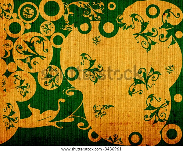 abstract design with flowers and circles
