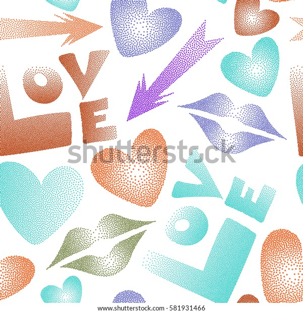 Abstract design in green, violet and orange colors. Valentine's day seamless pattern with kiss, love word and hearts on a white background.
