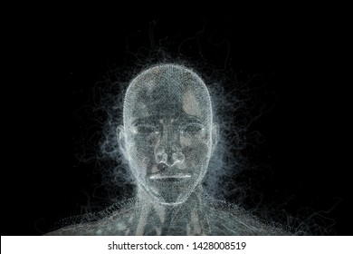 Abstract design of human head. Artificial intelligence and science concept. 3D Rendering