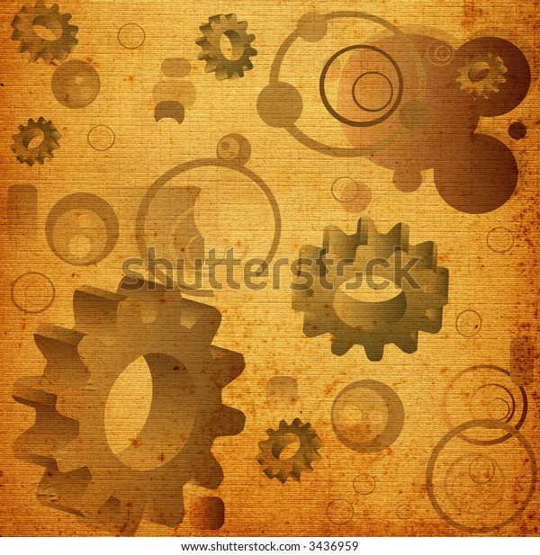 abstract design, illustration with circles, gears and rectangles