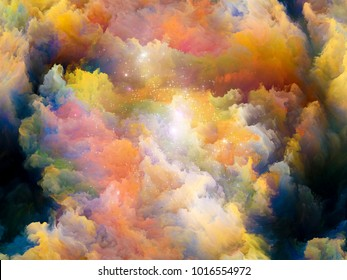Abstract design made of Colorful fractal clouds and graphic elements on the subject of forces of nature, art, design and creativity