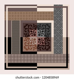 Abstract design made of geometric motifs.