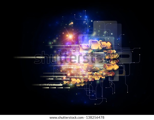 Abstract design made of symbols, lights, fractal elements on the subject of digital communications, science and virtual cloud technology