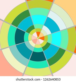 Abstract design multicolor palette. Circle, spiral wheel of color. Geometric block shape background.